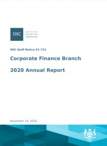 Cover image of 2020 Corporate Finance Branch Annual Report